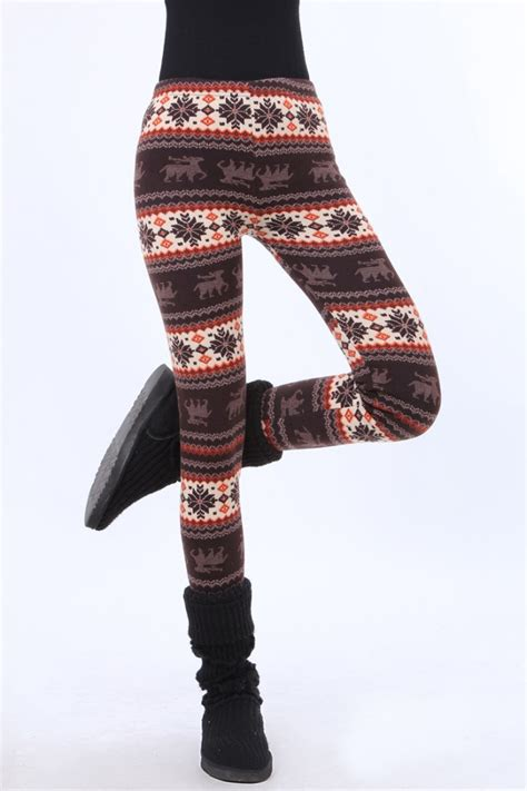 winter pattern leggings uk womens xmas snowflake reindeer knitted warm pattern