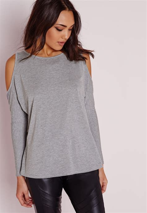 Top A Grey missguided cold shoulder tunic top grey in gray lyst
