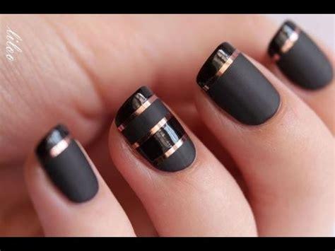 imagenes de uñas blancas y negras decoraciones de u 241 as negras glossy gold floral youtube