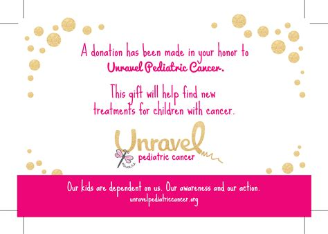 Printables Unravel Pediatric Cancerunravel Pediatric Cancer A Donation Has Been Made In Your Name Template