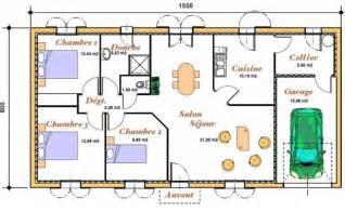 plan pour une de plain pied avec 3 chambres et un