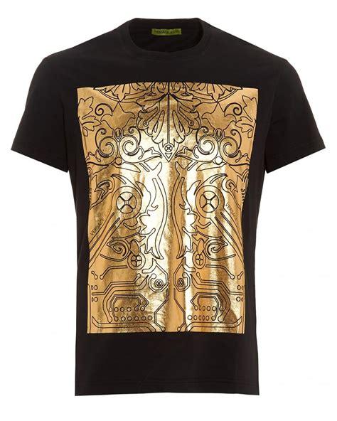 versace pattern t shirt lyst versace jeans black t shirt regular fit gold foil