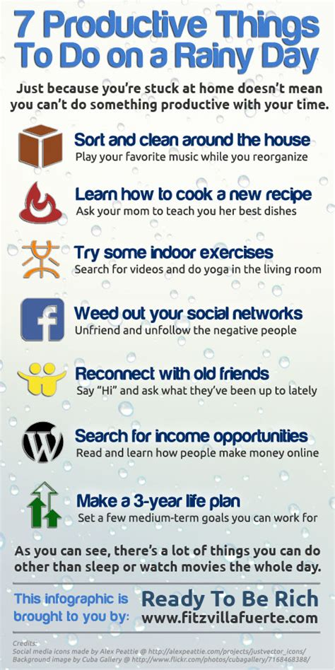 things to do in s day infographic 7 productive things to do on a rainy day