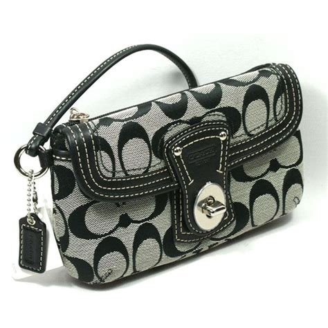Coach Legacy Signature Cotton Slim Flap by Coach Legacy Signature Capacity Flap Wristlet Blk Wht