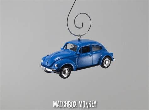 classic blue volkswagen beetle custom christmas ornament