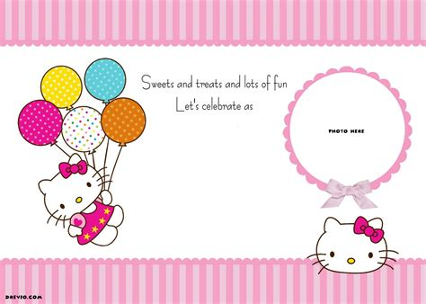 hello kitty printable invitation template free personalized hello kitty birthday invitations
