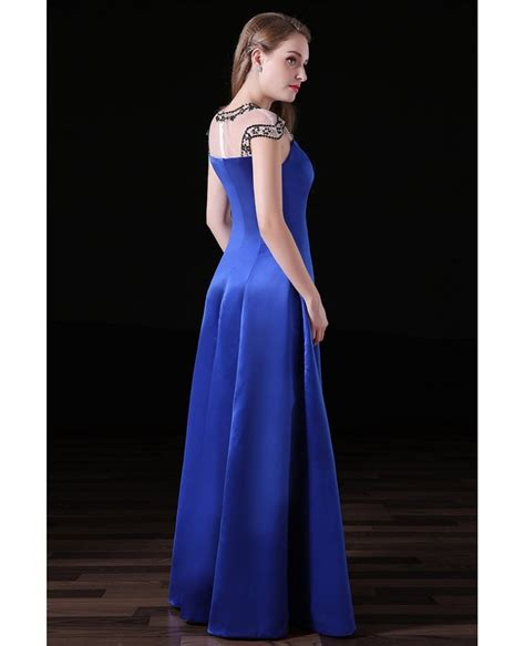 Dress A011 gown high neck floor length satin prom dress with