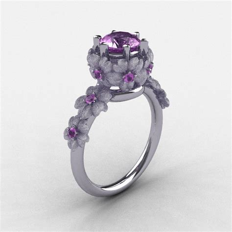 14k white gold lilac amethyst flower wedding ring