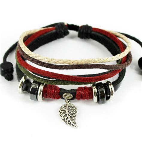 Leather Bracelet Handmade - adjustable leather multi layer handmade leaf charms