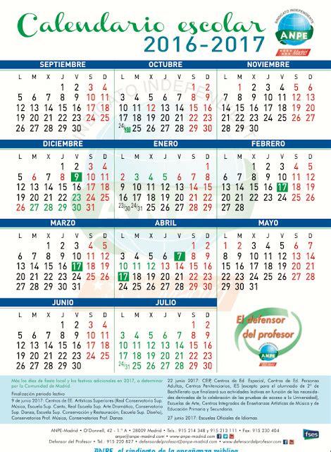 calendario escolar 20162017 madrid calendario escolar 2016 2017 anpe madrid