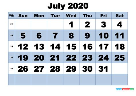 printable july  calendar  week numbers