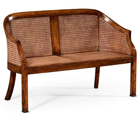 cane back settee walnut 2 seater salon settee cane back upholstered seat