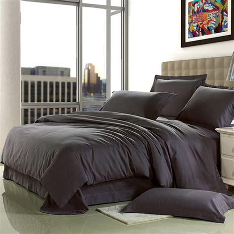 design comforters for beds brief home textile 100 cotton sanding dark grey solid