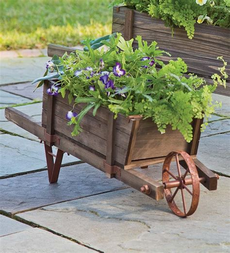 wooden wheelbarrow planter garden art plow hearth