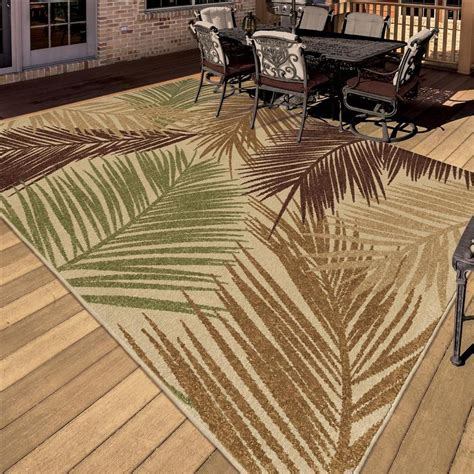 5 x 7 indoor outdoor rug 5x8 5 2 quot x 7 6 quot tropical coastal island palm