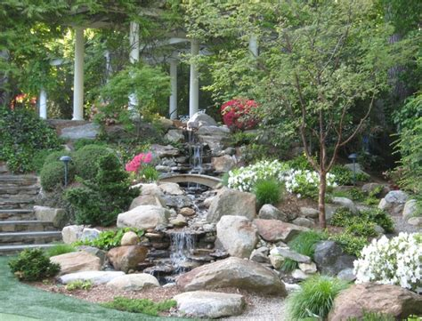 rock waterfalls for gardens rock waterfalls with landscaping gardens traditional