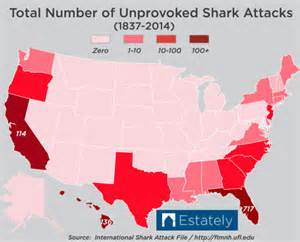 Shark Attacks In Florida Map by Which U S States Are Most Likely To Experience A