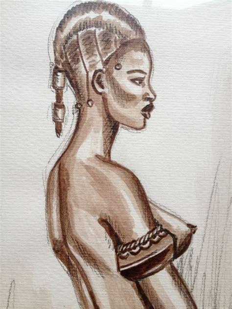 """tableau dessin encadré"""" femme africaine au bracelet"""