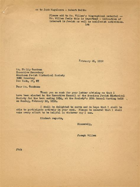 Acceptance Letter From American Joseph Willen Appointed To Executive Council Of American Historical Society