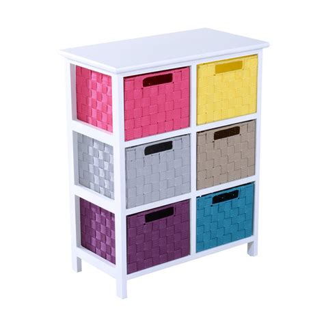 bathroom chest of drawers homcom 3 tier 6 multicoloured drawers storage cabinet