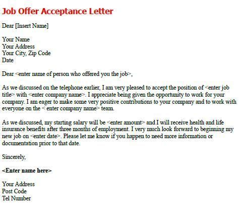 appointment letter response offer acceptance letter write a formal