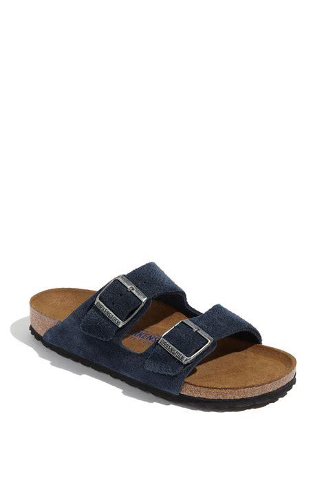 soft footbed sandals birkenstock arizona soft footbed sandal in blue denim lyst