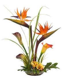 Vase Uplights Tropical Bird Of Paradise Amp Calla Lily Silk Flower