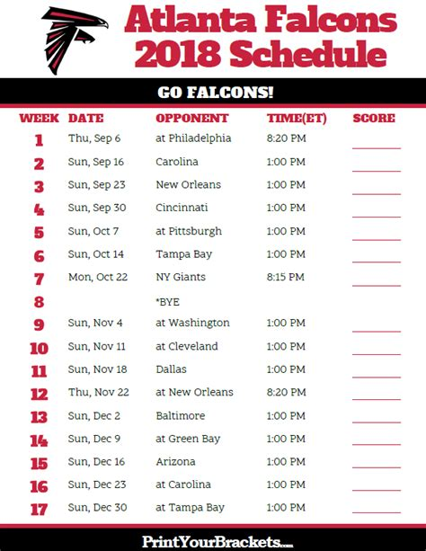 printable uga schedule printable atlanta falcons schedule 2018 season