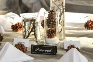 Winter wedding centerpieces with pine cones warm winter wedding ideas