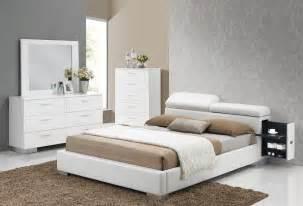 Built In Nightstand Manjot White Pu Queen Platform Bed W Built In Nightstands