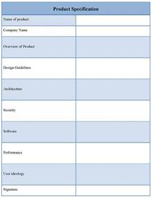 Product Specification Template product template for specification document format of