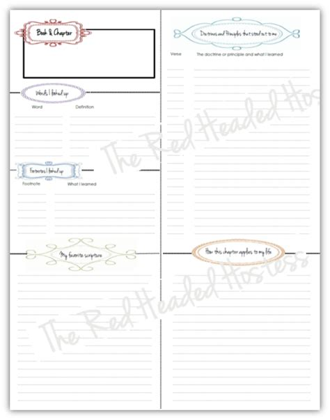 scripture journal templates book and chapter review theredheadedhostess lds https