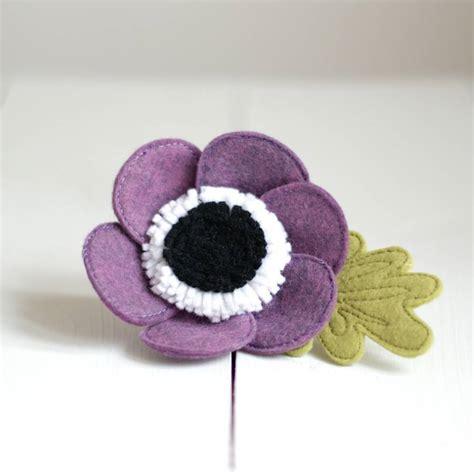 Handmade Felt Brooches - handmade purple felt anemone brooch by rosiebull designs