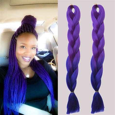 colorful braiding hair ombre expression kanekalon purple braiding hair 24