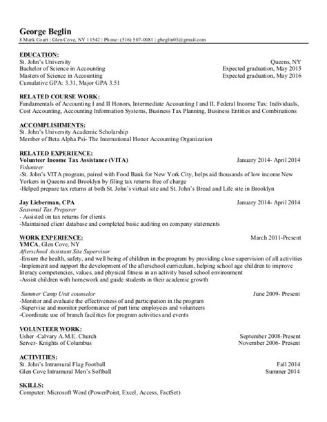 Sle Resume Objective For Accounting Internship sle accounting resume objective 28 images sle tax