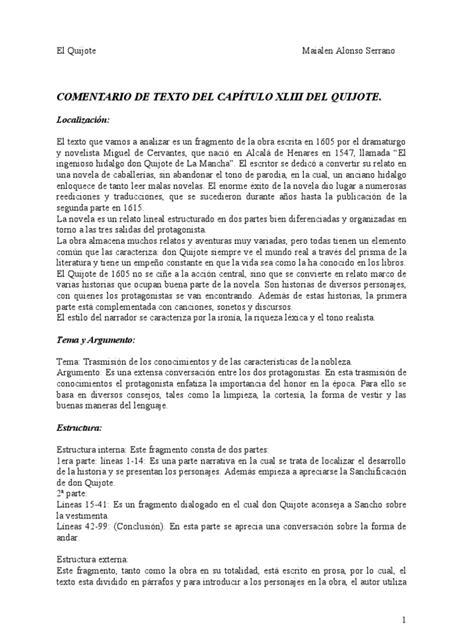 2COMENTARIO DE TEXTO DEL CAPÍTULO XLIII DEL QUIJOTE