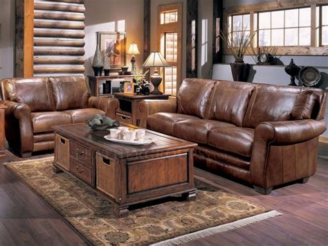 Brown Leather Living Room Set With Classic Wooden Table Brown Leather Living Room Set