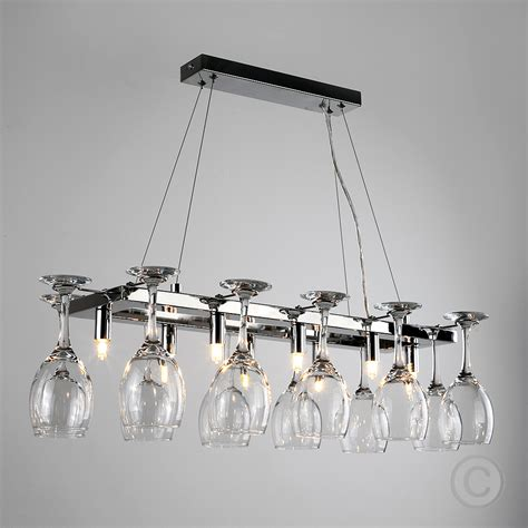 chrome wine glass chandelier kitchen dining breakfast bar