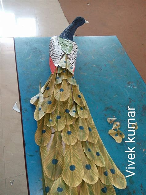 How To Make Waste Paper Craft - how to make peacock wall from waste paper craft