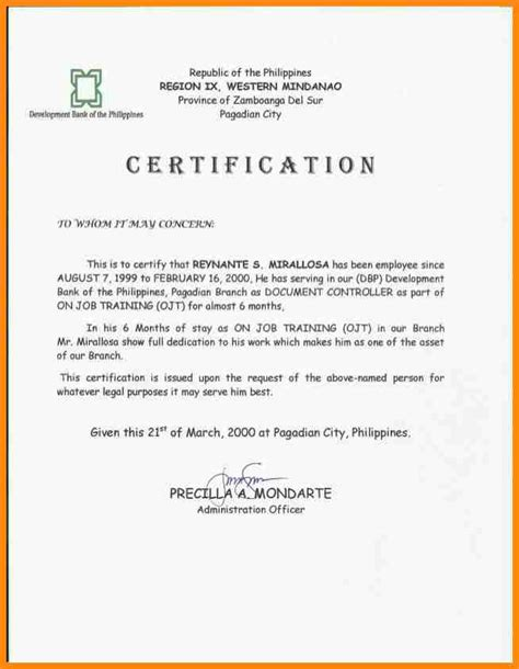 certification letter on the 7 certificate of employment sle pictures primary write