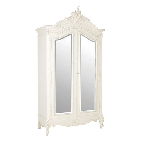 mirrored door armoire chateau french style 2 door mirrored armoire white