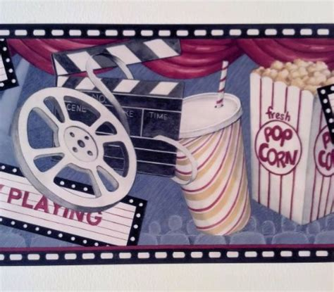 wallpaper border video game movie theater game room feature presentation pop corn