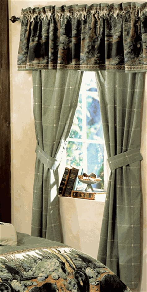 bear curtains black bear rod pocket drapes