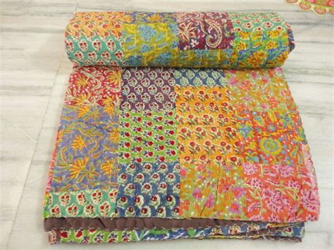indian made kantha quilt patchwork rally throw bed