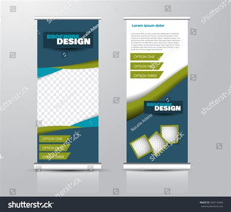 panel layout en francais roll vertical banner template stand panel stock vector