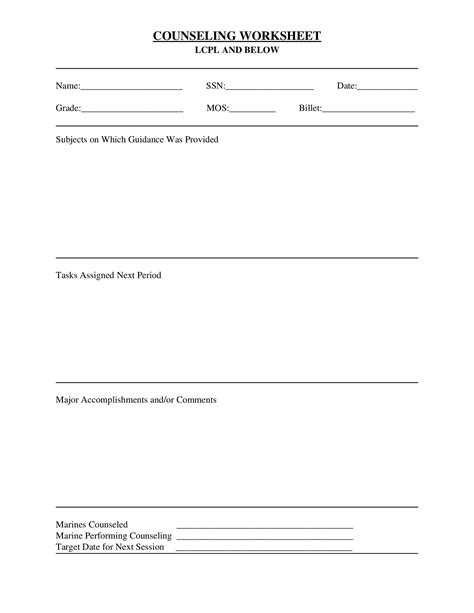 Usmc Counseling Sheet Template by Usmc Counseling Sheet Corporal And Below And Usmc