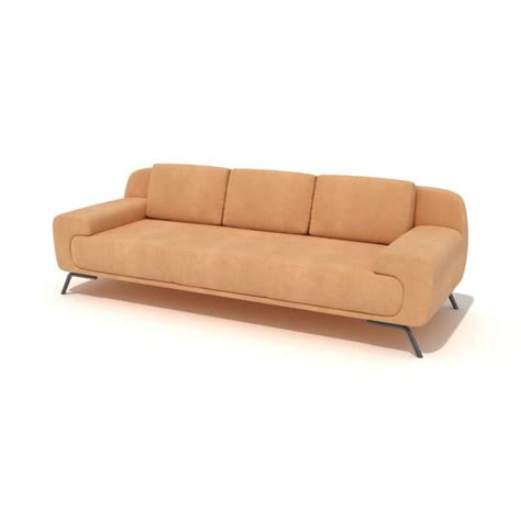 suede couch orange suede modern couch 3d model cgtrader com
