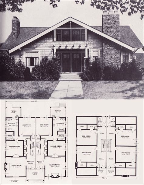 house plans california the california craftsman style side by side duplex