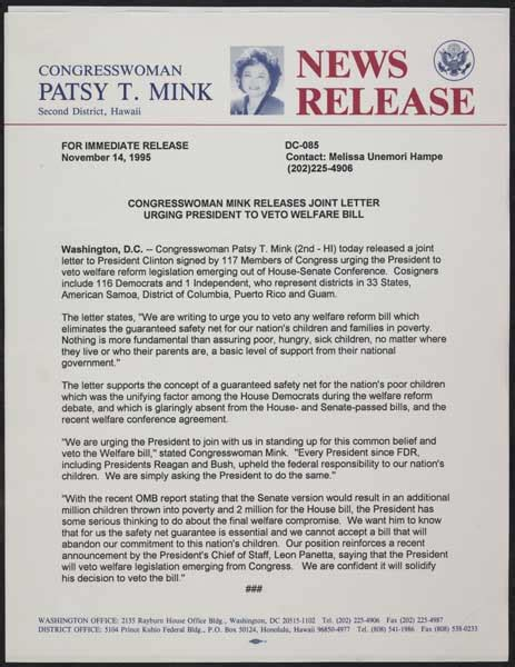 political press release template patsy t mink papers manuscript reading room library of