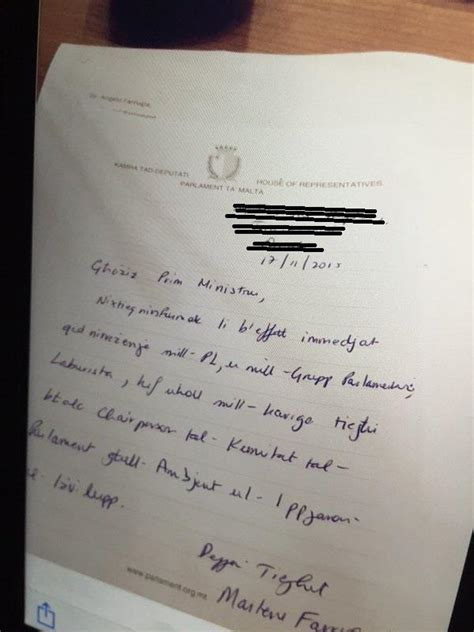 Resignation Letter Malta Marlene Farrugia Took The Decision To Resign There And Then In Parliament Caruana